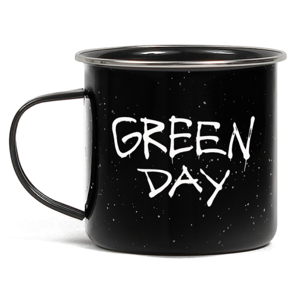 Metal camping style mug featuring Green Day drip logo on one side.