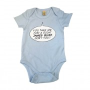Right James Blunt Speech Bubble Blue Babygrow
