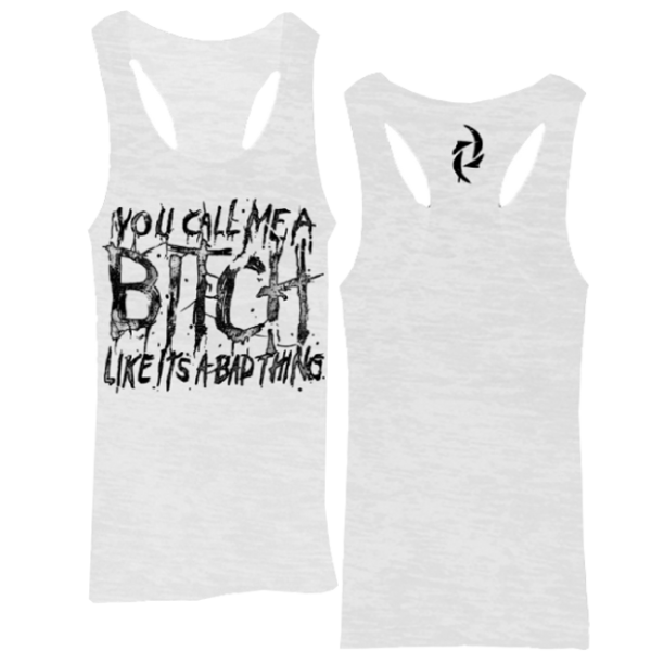 White Womens Bitch Burnout Racerback Tank