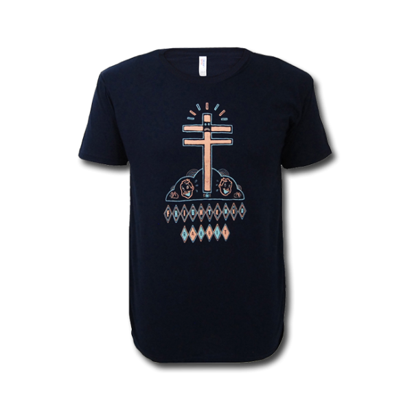 Frightened Rabbit Blue Cross/Face T-Shirt